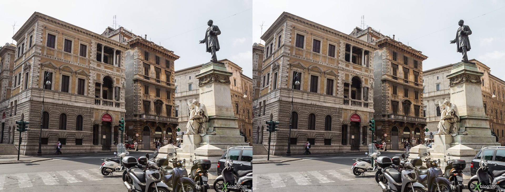 2012, piazza di San Pantaleo square, monument of Marco Minghetti, Farnesina dei Baullari palace, 3D, stereo pair, cross-eyed, crossview, cross view stereo pair