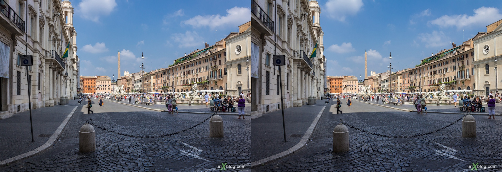 2012, piazza Navona square, 3D, stereo pair, cross-eyed, crossview, cross view stereo pair