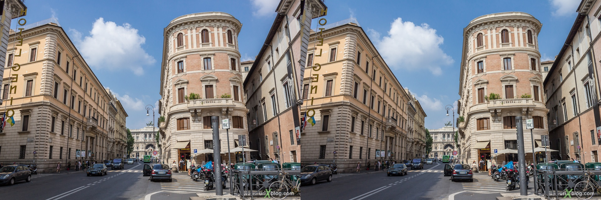 2012, via Giuseppe Zanardelli street, 3D, stereo pair, cross-eyed, crossview, cross view stereo pair