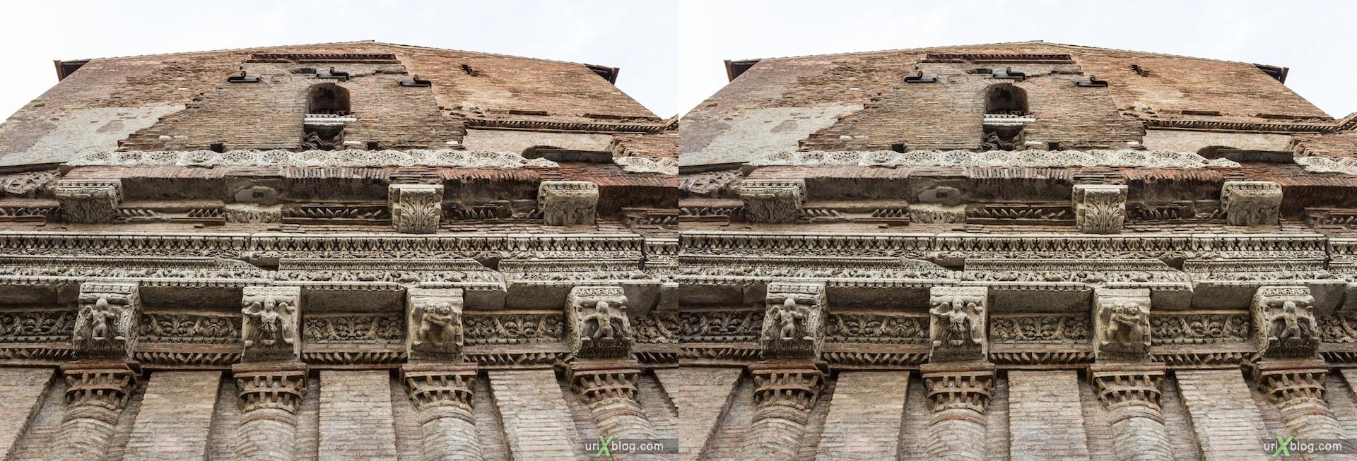 2012, здание Casa Dei Crescenzi, улица Luigi Petroselli, Рим, Италия, осень, 3D, перекрёстные стереопары, стерео, стереопара, стереопары
