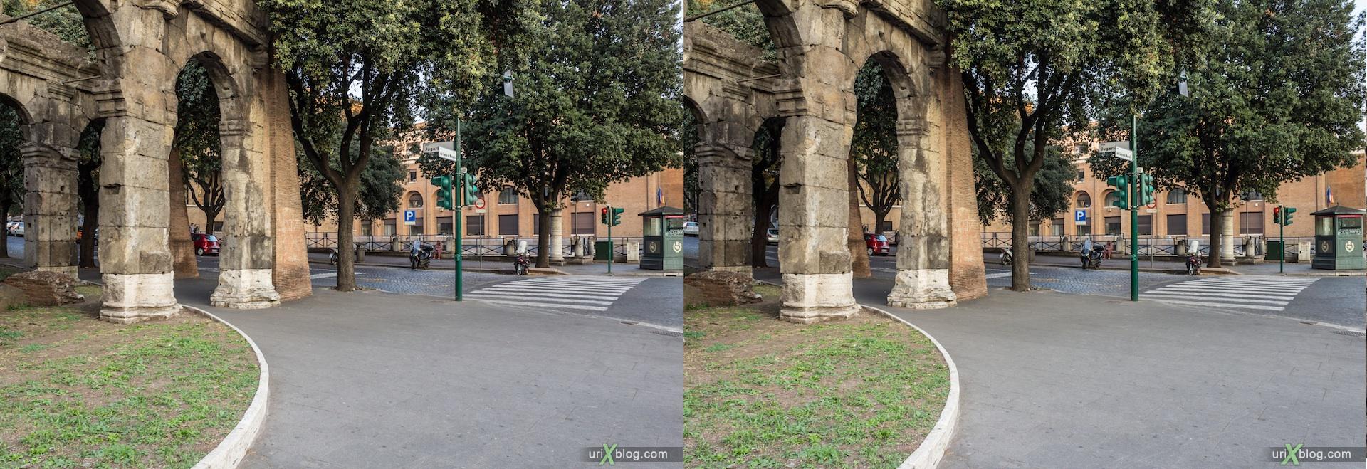 2012, улица Luigi Petroselli, улица Vico Jugario, Рим, Италия, осень, 3D, перекрёстные стереопары, стерео, стереопара, стереопары