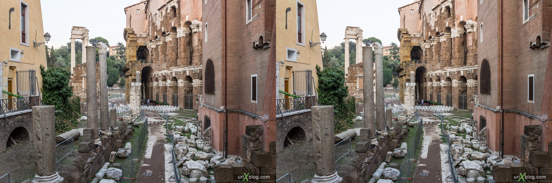 2012, Theater of Marcellus, Temple of Apollo Sosianus, 3D, stereo pair, cross-eyed, crossview, cross view stereo pair