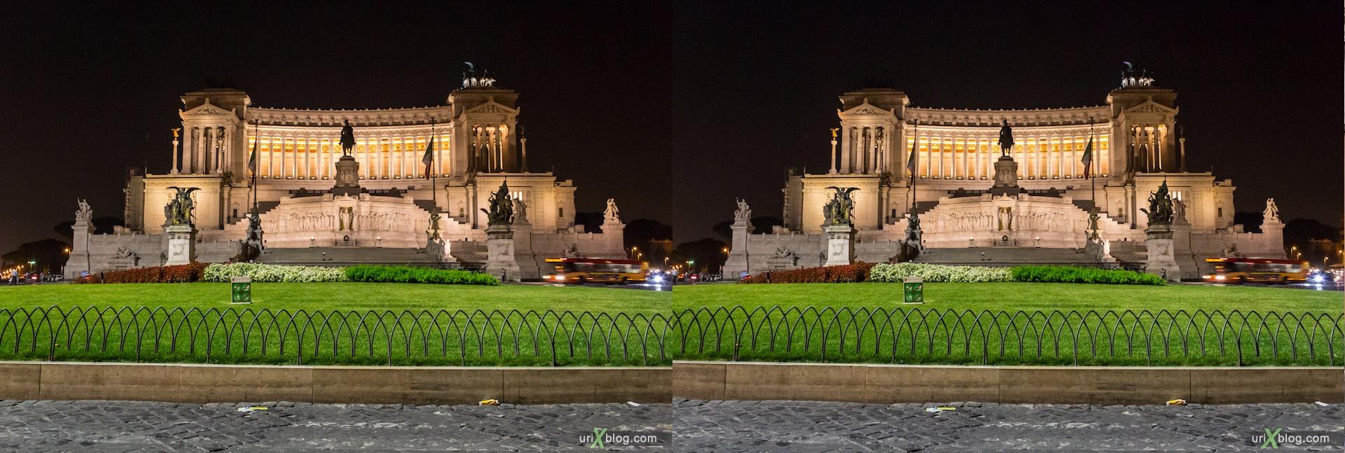 2012, Витториано, газон, трава, площадь Венеции, Рим, Италия, осень, 3D, перекрёстные стереопары, стерео, стереопара, стереопары