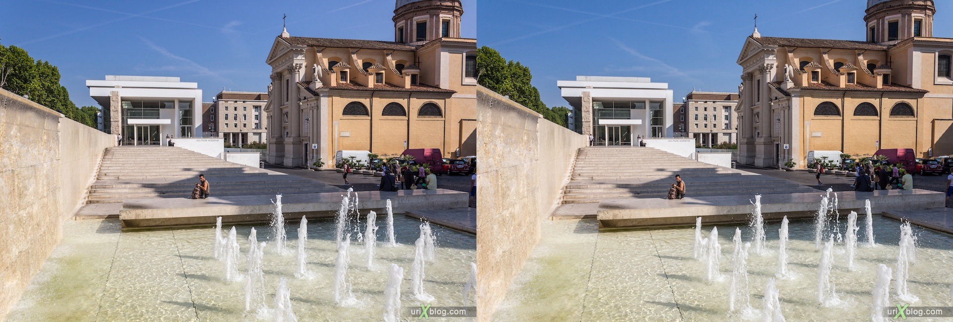 2012, Ara Pacis Augustae, altar to Peace, fountains, San Rocco church, 3D, stereo pair, cross-eyed, crossview, cross view stereo pair