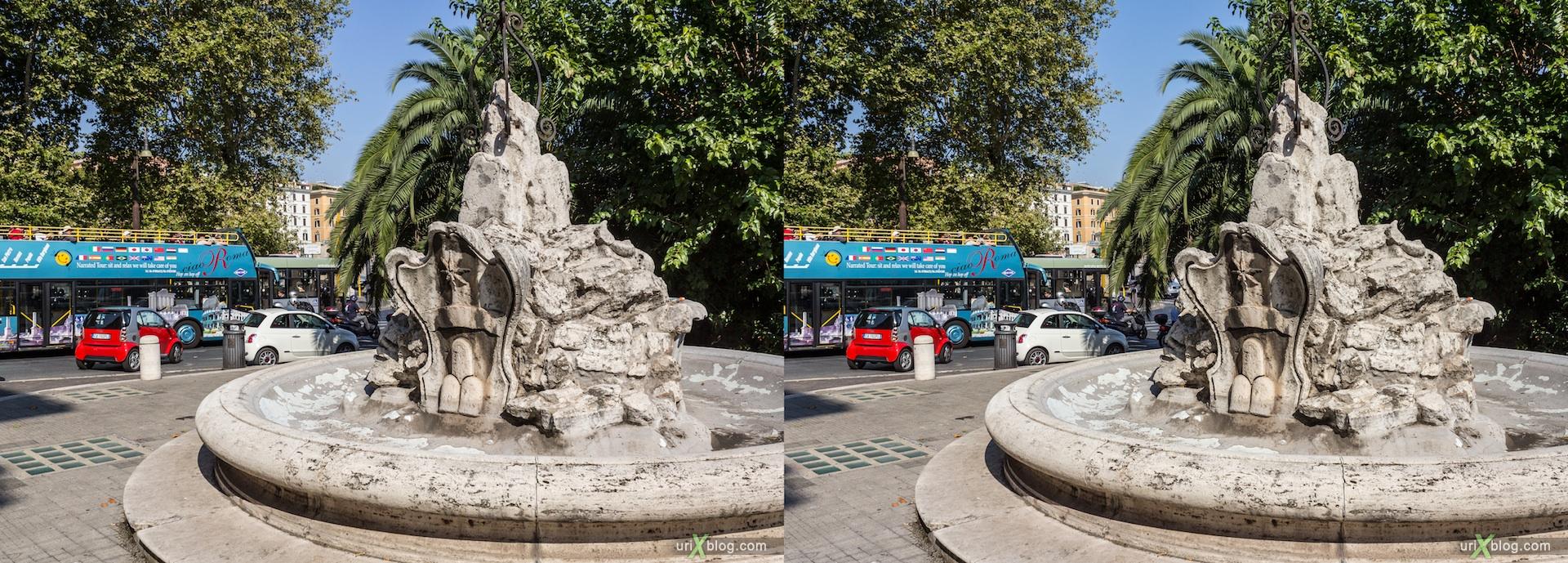 2012, фонтан dei Navigatori, площадь Piazza del Porto di Ripetta, Рим, Италия, осень, 3D, перекрёстные стереопары, стерео, стереопара, стереопары