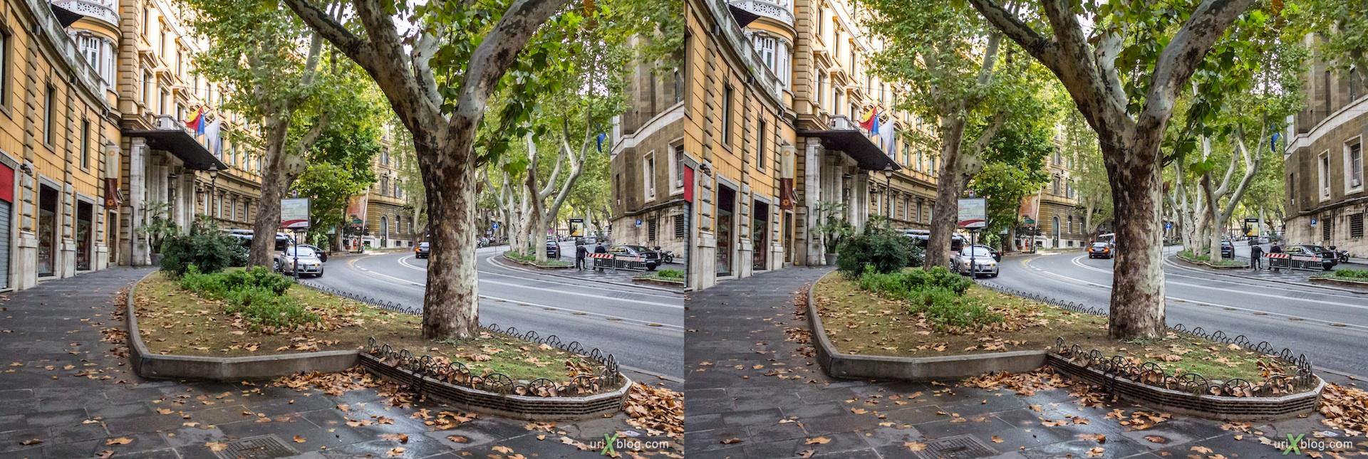 2012, улица Via Vittorio Veneto, Рим, Италия, осень, 3D, перекрёстные стереопары, стерео, стереопара, стереопары