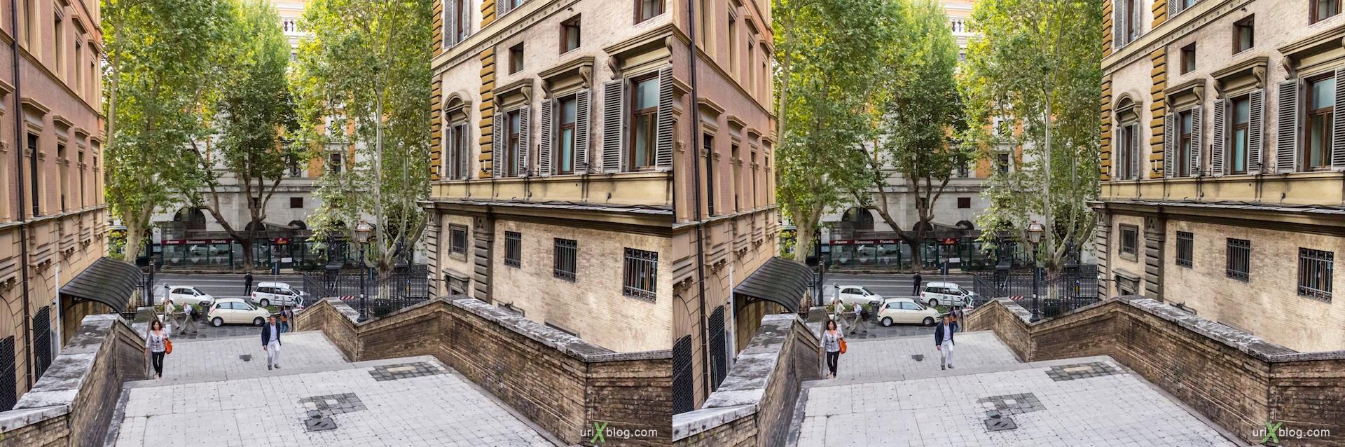 2012, ступеньки, улица Emilia, Рим, Италия, осень, 3D, перекрёстные стереопары, стерео, стереопара, стереопары