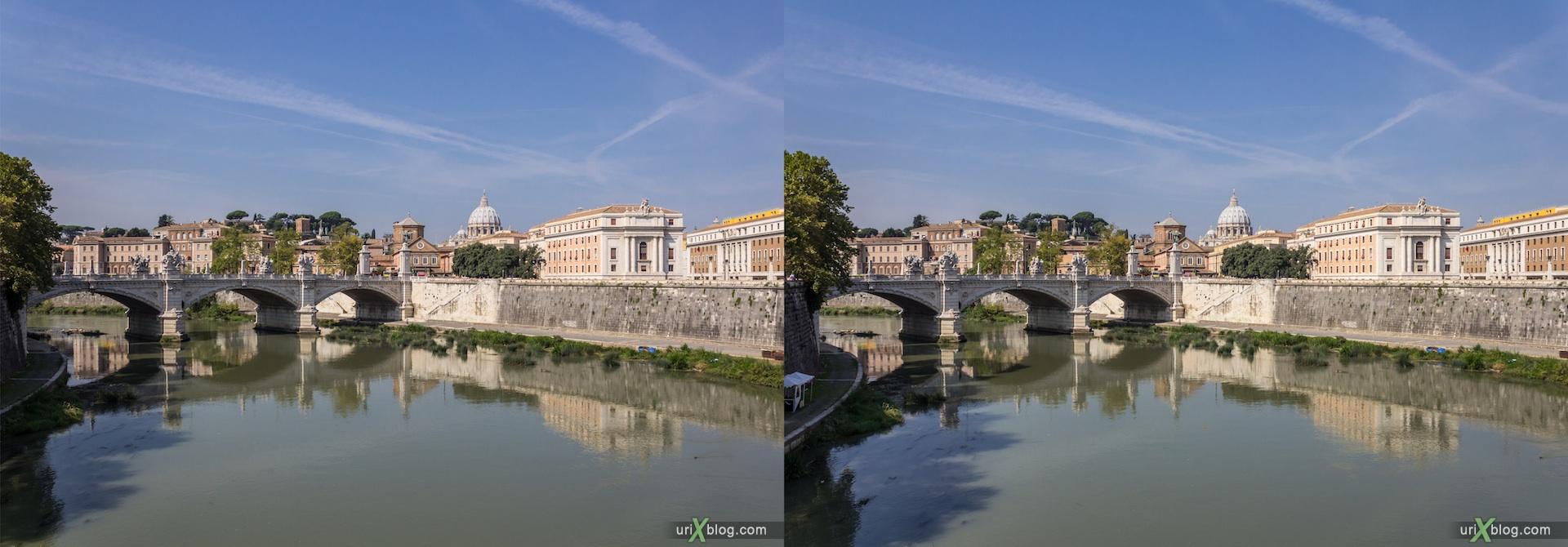2012, мост Святого Ангела, река Тибр, мост Виктора Эммануила II, Ватикан, Рим, Италия, осень, 3D, перекрёстные стереопары, стерео, стереопара, стереопары
