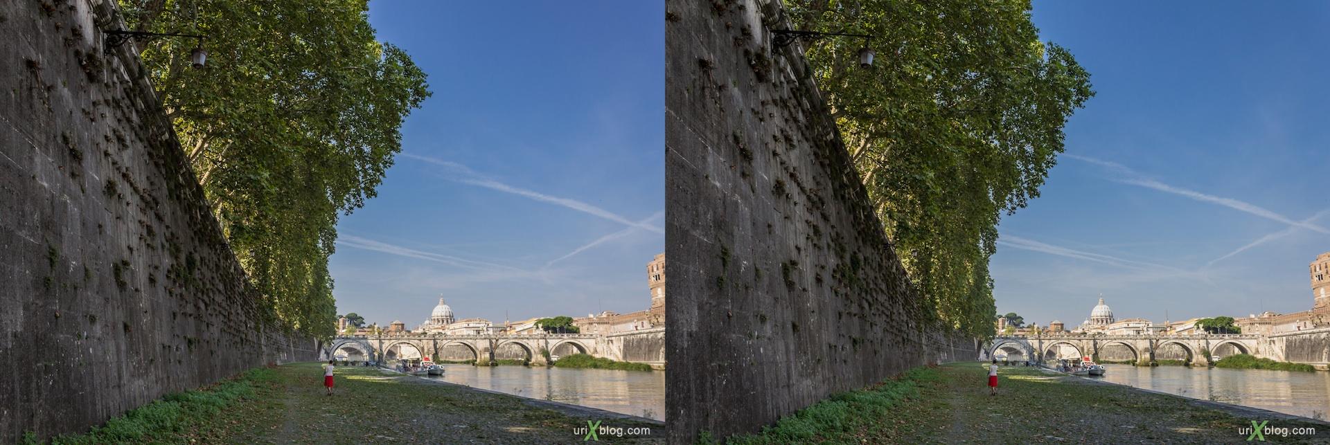 2012, набережная, река, деревья, мост Умберто 1, мост Святого Ангела, Рим, Италия, осень, 3D, перекрёстные стереопары, стерео, стереопара, стереопары