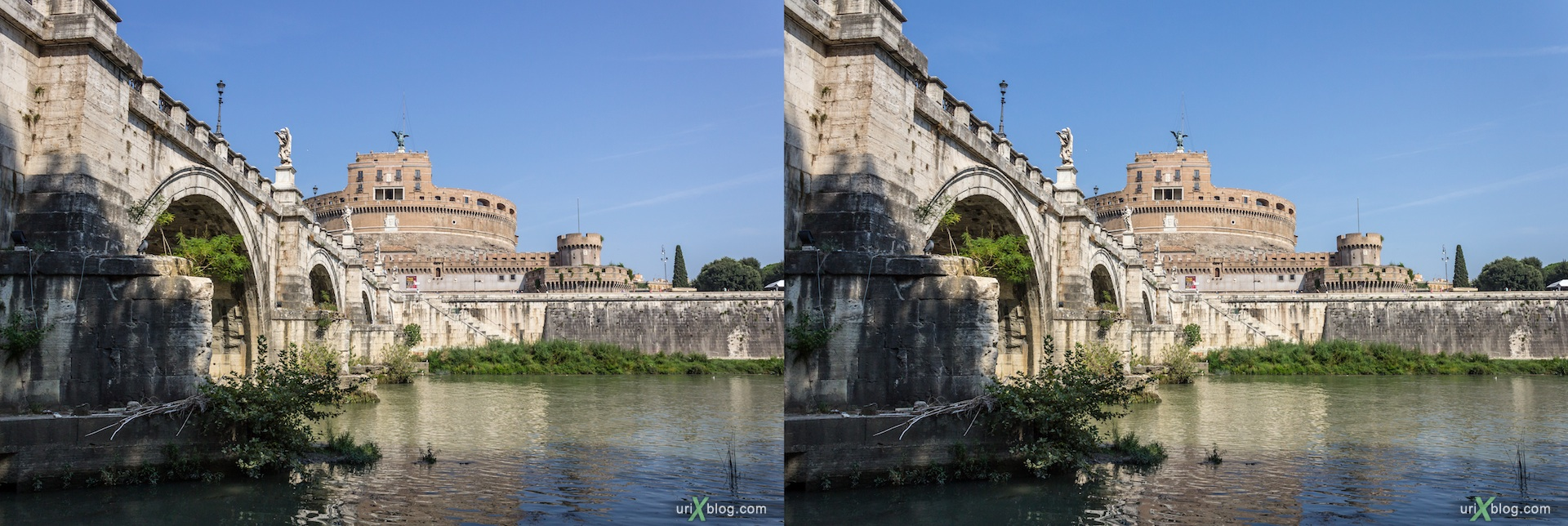 2012, seafront, embankment, Tiber river, bridge of Umberto 1, bridge of Sant Angelo, castel Sant Angelo (Mausoleum of Hadrian), 3D, stereo pair, cross-eyed, crossview, cross view stereo pair