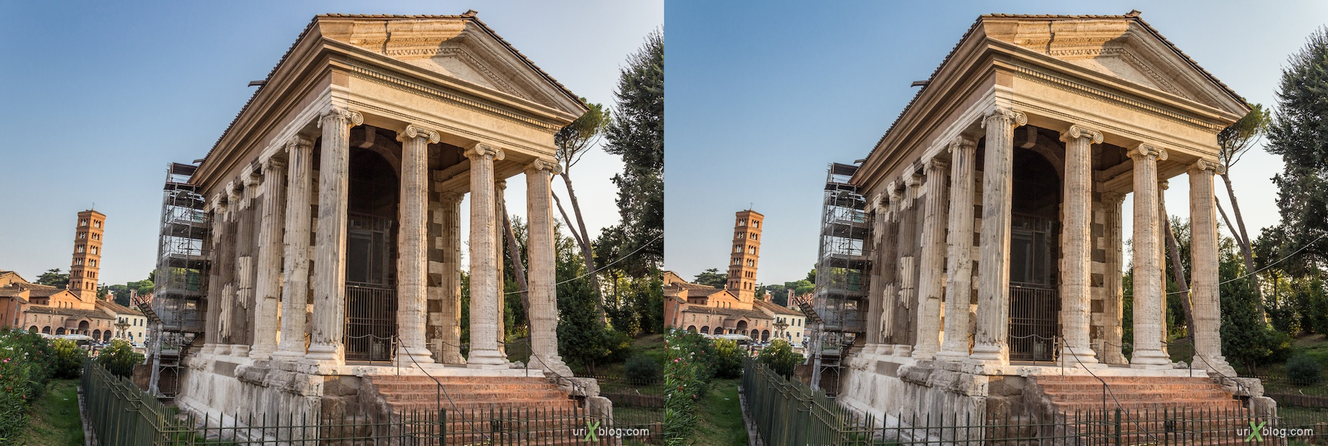 2012, Temple of Portunus, Forum Boarium, 3D, stereo pair, cross-eyed, crossview, cross view stereo pair