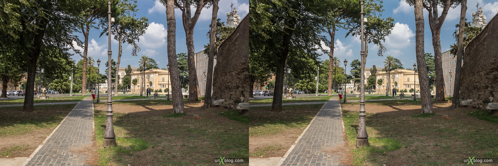 2012, Santa Croce in Gerusalemme church, square, Amphitheatrum Castrense, 3D, stereo pair, cross-eyed, crossview, cross view stereo pair