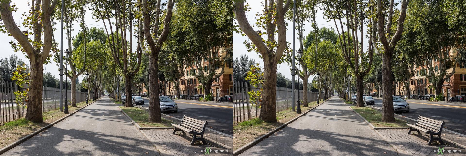 2012, Viale Carlo Felice avenue, trees, street, 3D, stereo pair, cross-eyed, crossview, cross view stereo pair