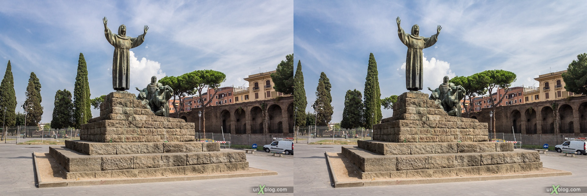 2012, Statue, Saint Francis monument, Piazzale Appio square, 3D, stereo pair, cross-eyed, crossview, cross view stereo pair