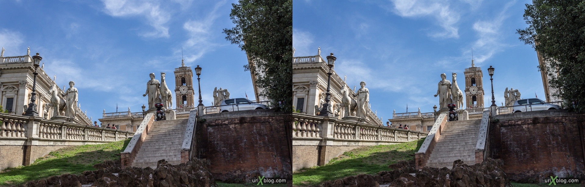 2012, Capitoline square, stairs, 3D, stereo pair, cross-eyed, crossview, cross view stereo pair