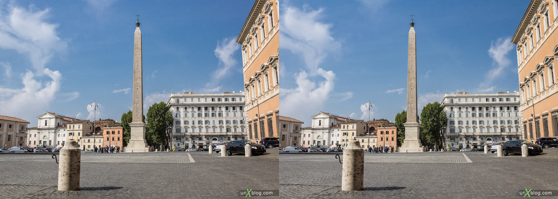 2012, Lateran Obelisk, Ancient Egypt, Piazza di San Giovanni in Laterano square, 3D, stereo pair, cross-eyed, crossview, cross view stereo pair