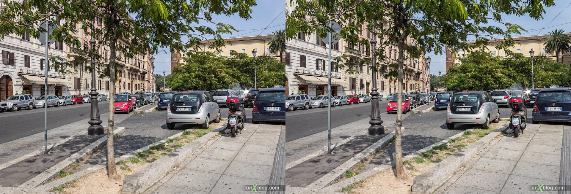 2012, Via Domenico Fontana street, Piazza di San Giovanni in Laterano square, Piazza di Porta San Giovanni square, 3D, stereo pair, cross-eyed, crossview, cross view stereo pair