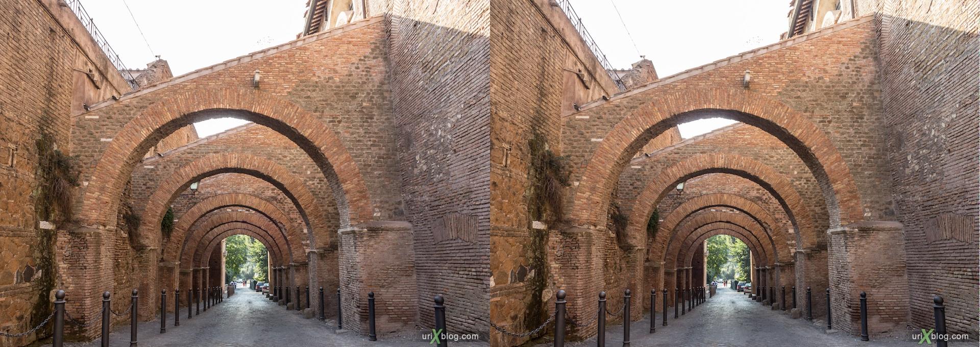 2012, Clivo di Scauro street, Santi Giovanni e Paolo church, 3D, stereo pair, cross-eyed, crossview, cross view stereo pair