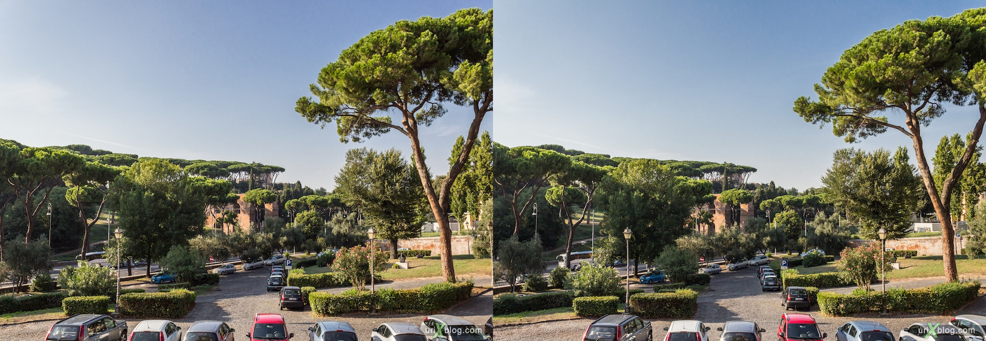 2012, Palatine hill, panorama view, stairs, San Gregorio Magno church, 3D, stereo pair, cross-eyed, crossview, cross view stereo pair