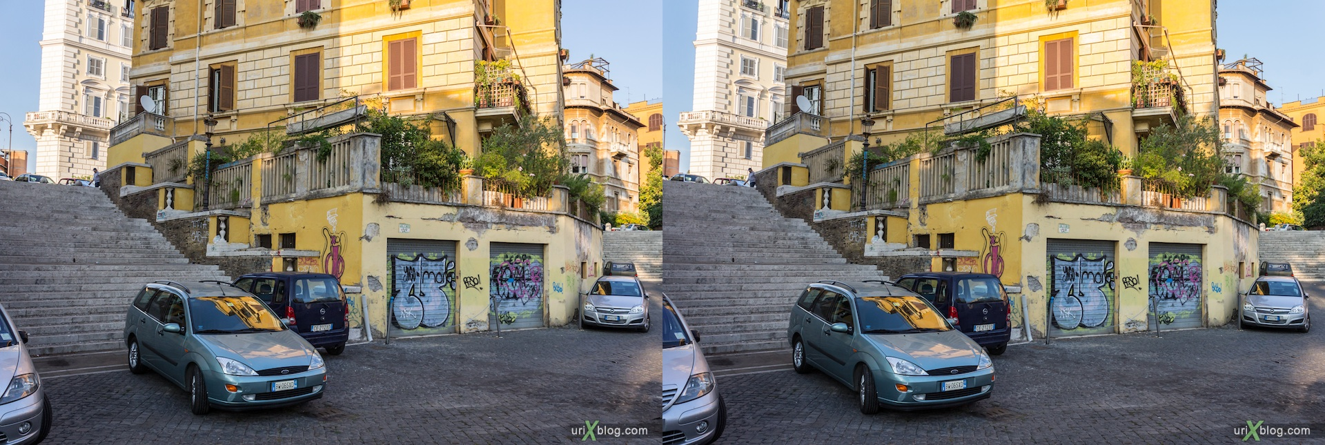 2012, Via della Domus Aurea street, 3D, stereo pair, cross-eyed, crossview, cross view stereo pair