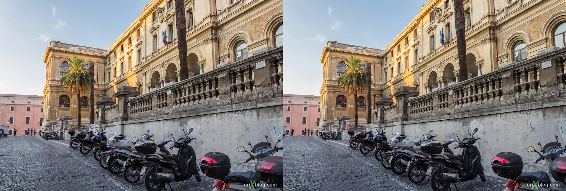 2012, via Eudossiana street, Faculty of Engineering, la Sapienza University, 3D, stereo pair, cross-eyed, crossview, cross view stereo pair