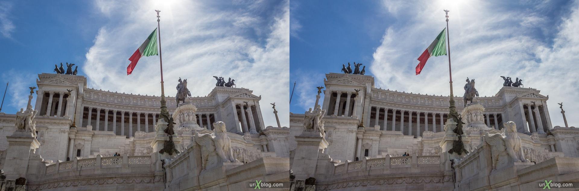 2012, the Vittoriano (Monument of Vittorio Emanuele II), 3D, stereo pair, cross-eyed, crossview, cross view stereo pair