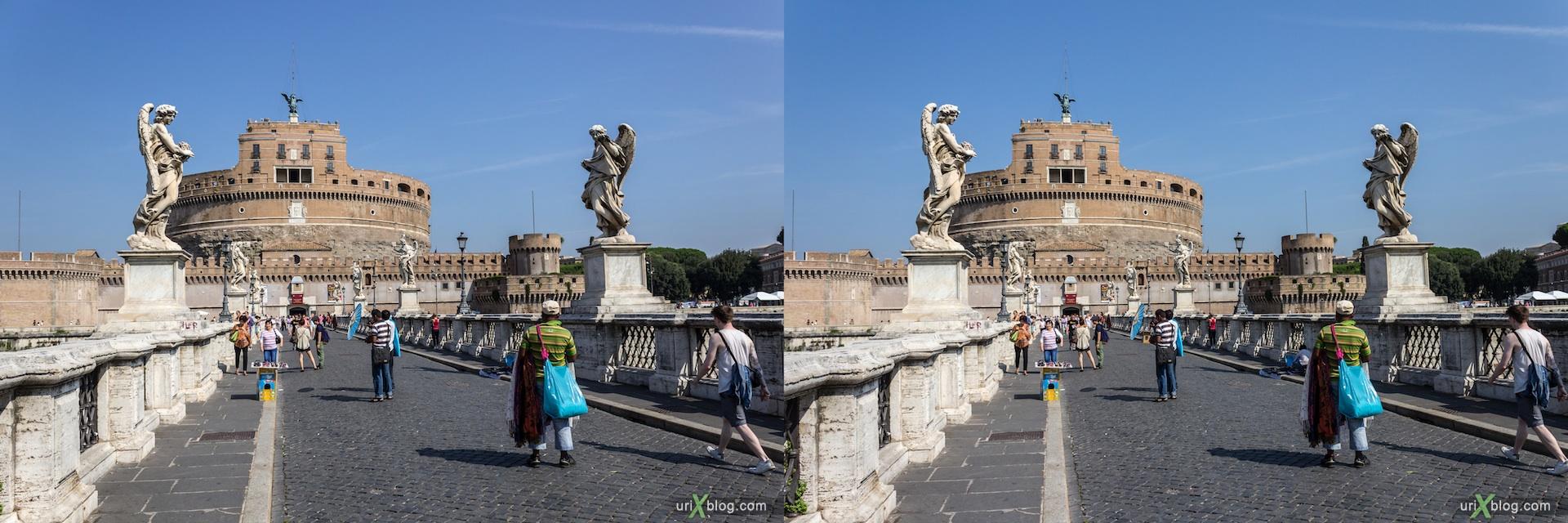 2012, Castel Sant Angelo, Mausoleum of Hadrian, bridge, 3D, stereo pair, cross-eyed, crossview, cross view stereo pair