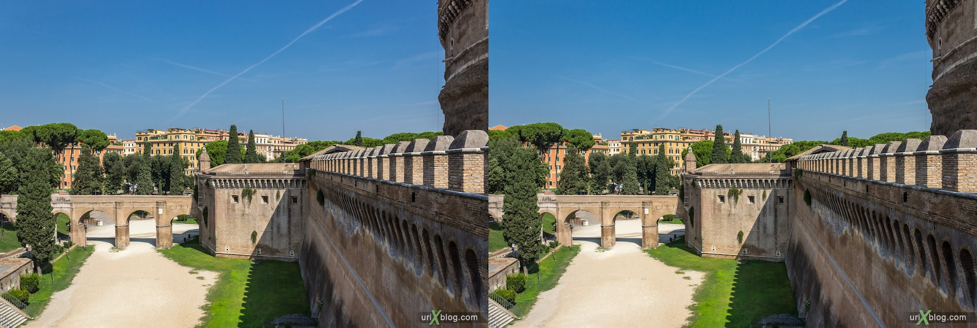 2012, Castel Sant Angelo, Mausoleum of Hadrian, 3D, stereo pair, cross-eyed, crossview, cross view stereo pair