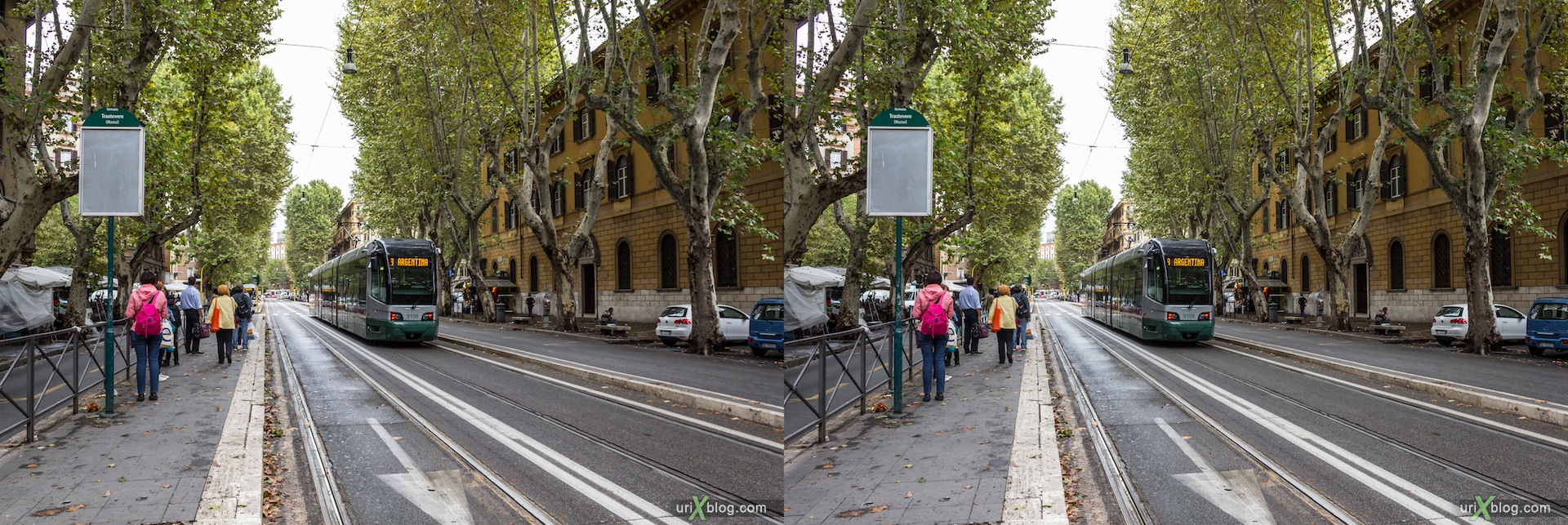 2012, tram, tram stop, Viale di Trastevere avenue, Rome, Italy, Europe, 3D, stereo pair, cross-eyed, crossview, cross view stereo pair