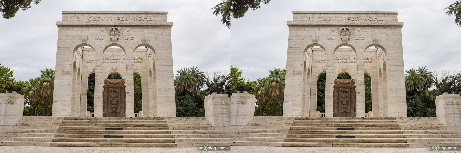 2012, Mausoleum of Garibaldi, Via Garibaldi street, Rome, Italy, Europe, 3D, stereo pair, cross-eyed, crossview, cross view stereo pair