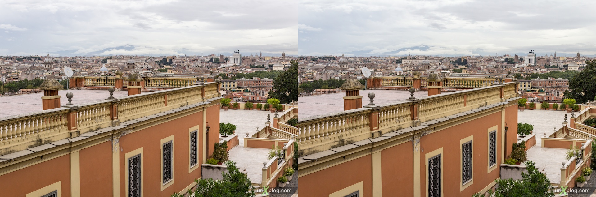 2012, dell Acqua Paola fountain, via Garibaldi street, city view, viewpoint, panorama, Rome, Italy, Europe, 3D, stereo pair, cross-eyed, crossview, cross view stereo pair