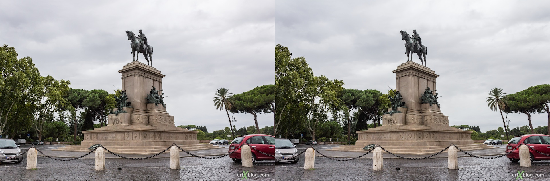 2012, Garibaldi square, Garibaldi statue, horse, Rome, Italy, Europe, 3D, stereo pair, cross-eyed, crossview, cross view stereo pair