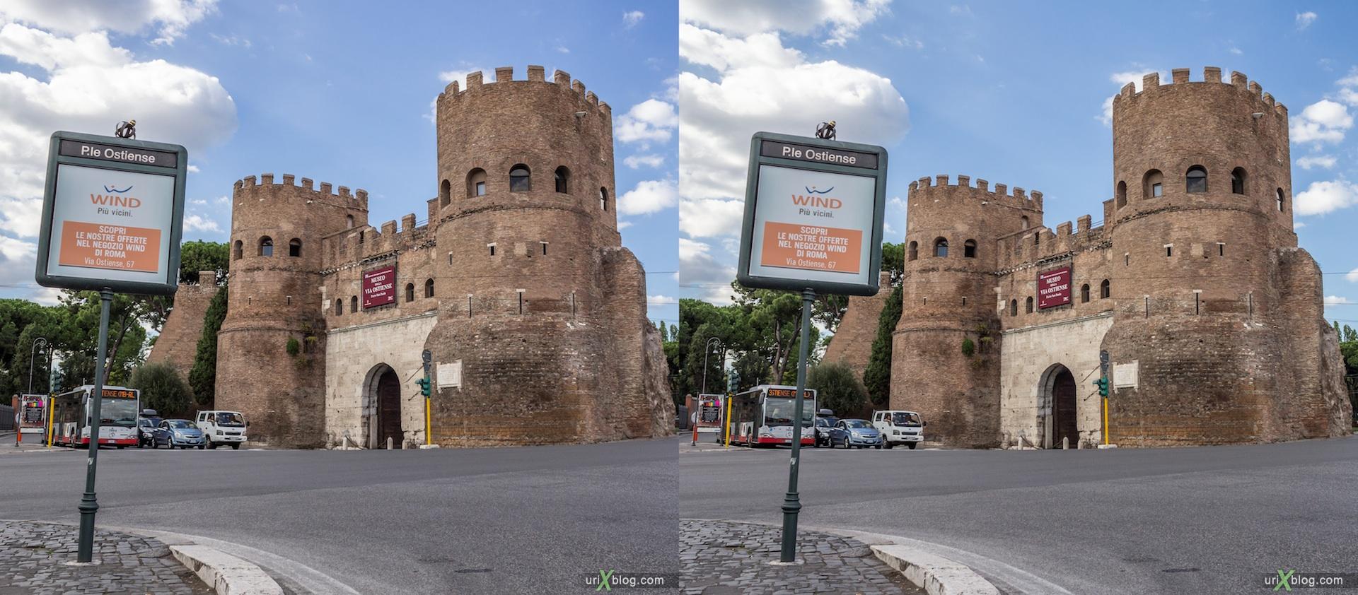 2012, Ворота Сан Паоло, Пирамида Цестия, Рим, Италия, осень, 3D, перекрёстные стереопары, стерео, стереопара, стереопары
