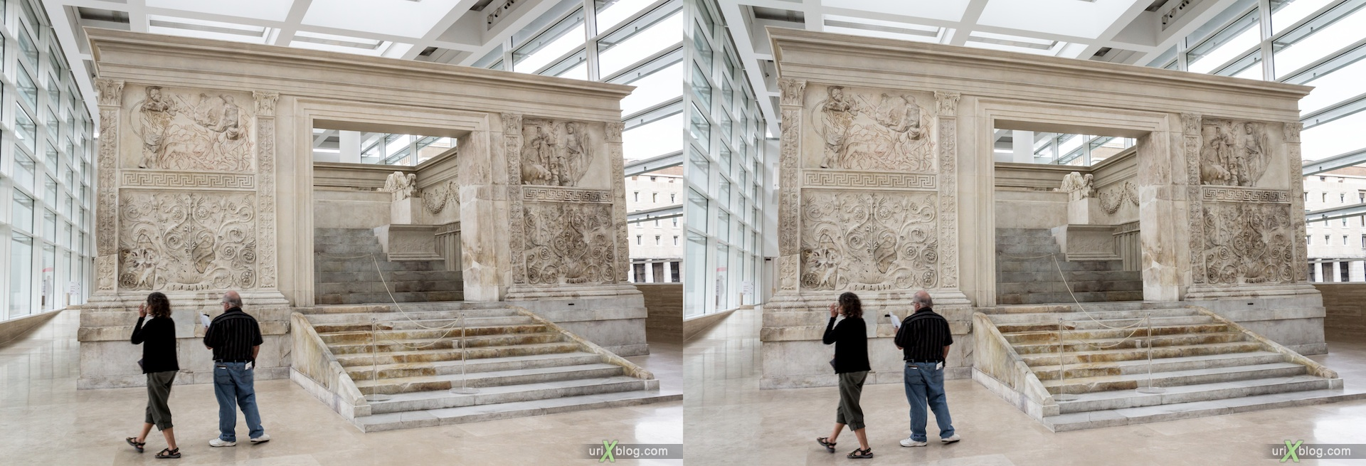 2012, Ara Pacis, Altar of Augustan Peace, Rome, Italy, Europe, 3D, stereo pair, cross-eyed, crossview, cross view stereo pair