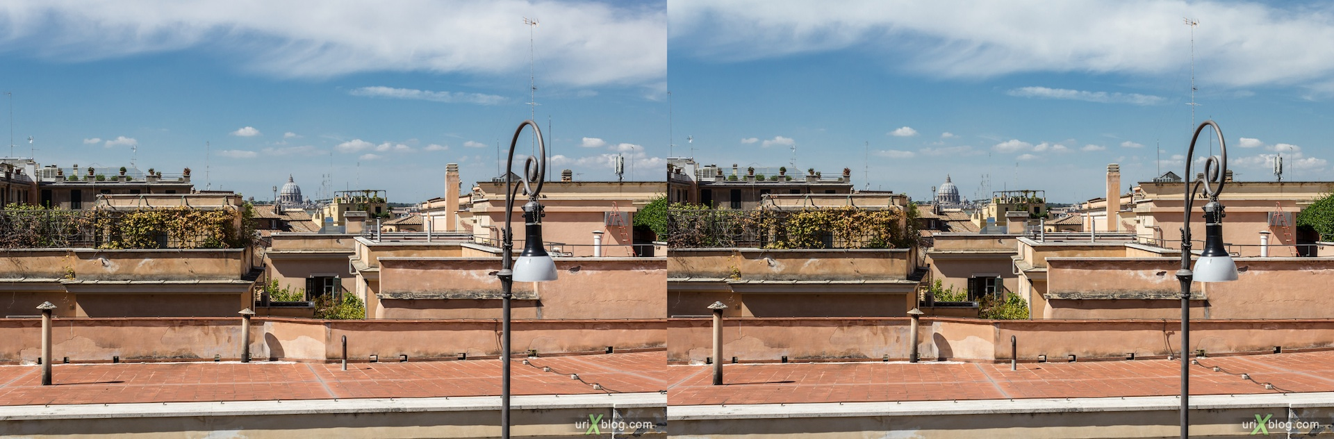 2012, Quirinal square, panorama, viewpoint, roofs, Rome, Italy, Europe, 3D, stereo pair, cross-eyed, crossview, cross view stereo pair