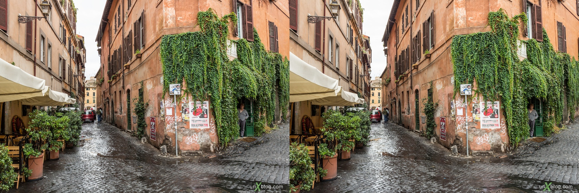 2012, via Garibaldi street, via della Scala street, corner, Rome, Italy, Europe, 3D, stereo pair, cross-eyed, crossview, cross view stereo pair