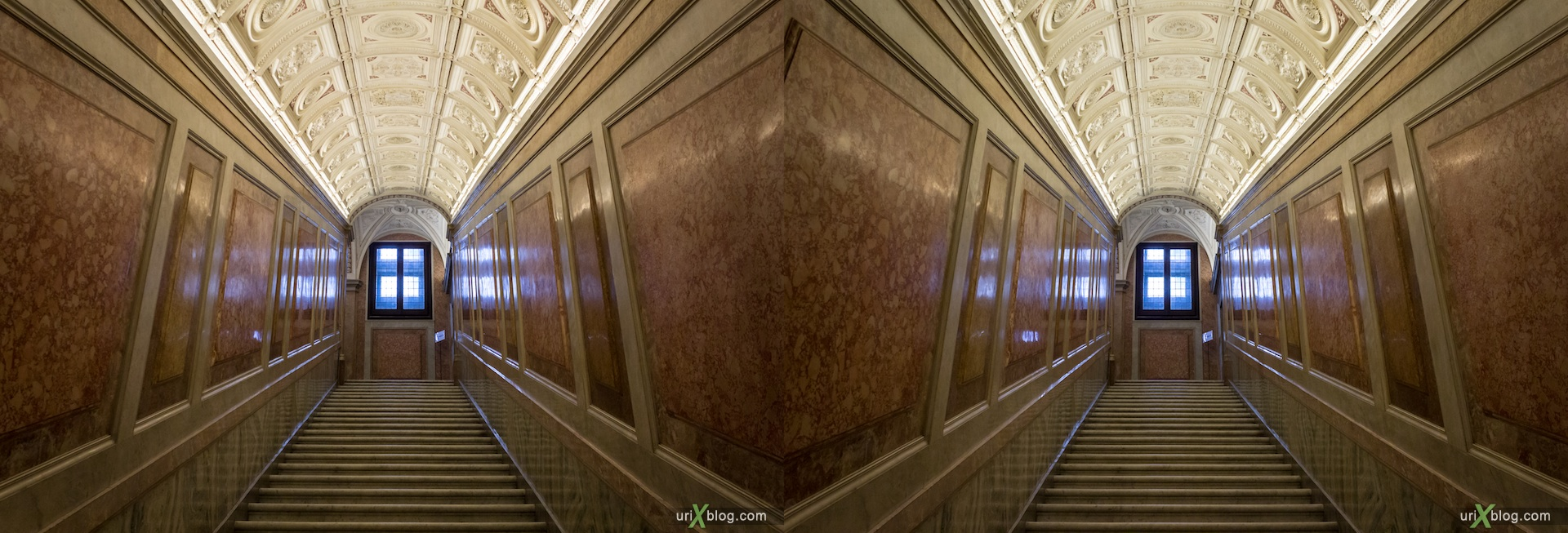 2012, Villa Farnesina, stairs, Rome, Italy, Europe, 3D, stereo pair, cross-eyed, crossview, cross view stereo pair