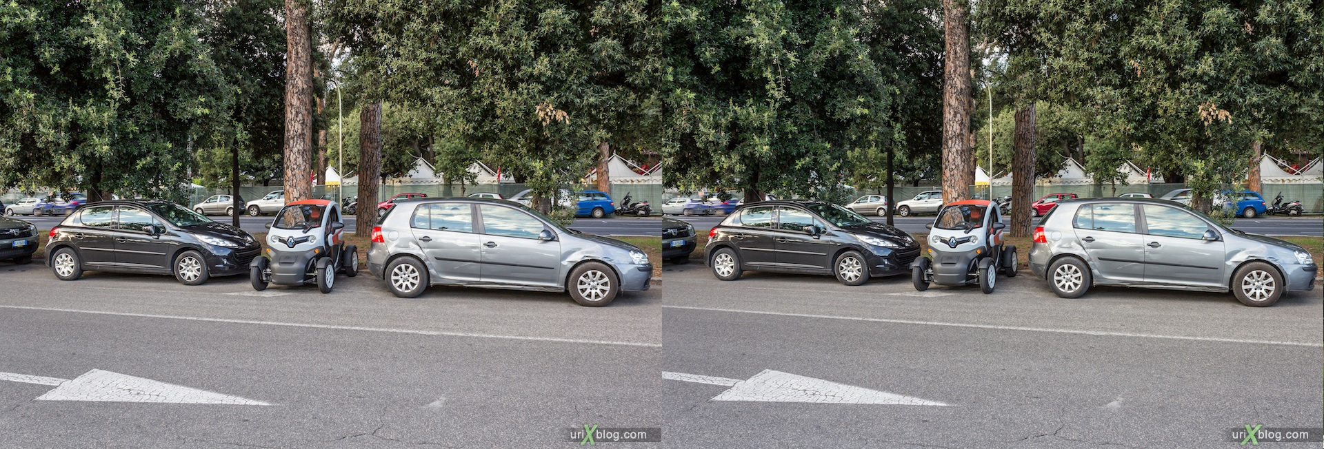 2012, Renault ZE, Baths of Caracalla, Rome, Italy, Europe, 3D, stereo pair, cross-eyed, crossview, cross view stereo pair