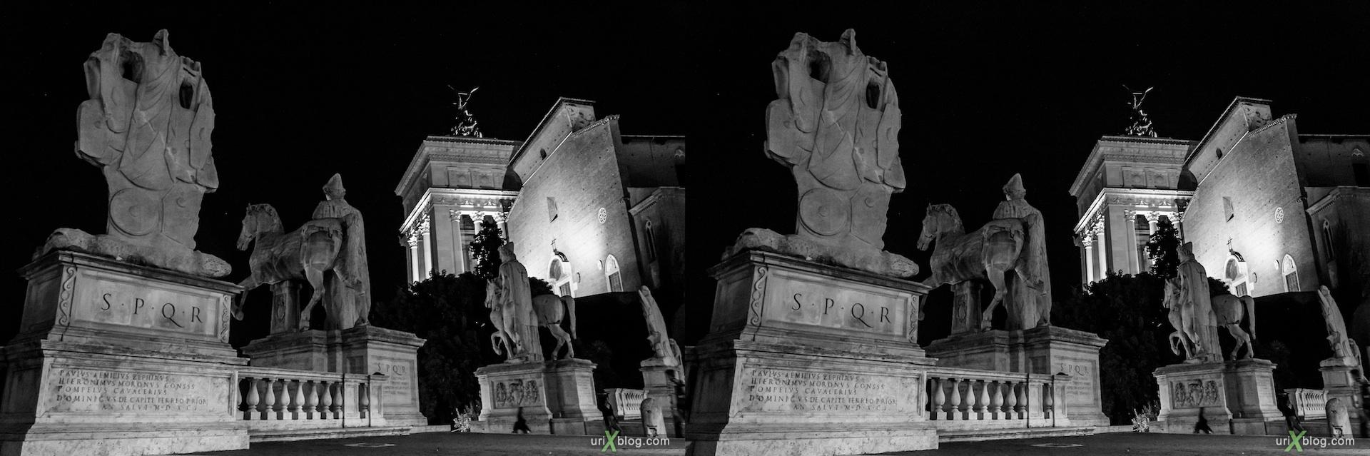 2012, ночь, статуи, Диоскуры, Кастор и Поллукс, Капитолийская площадь, Рим, Италия, осень, 3D, перекрёстные стереопары, стерео, стереопара, стереопары