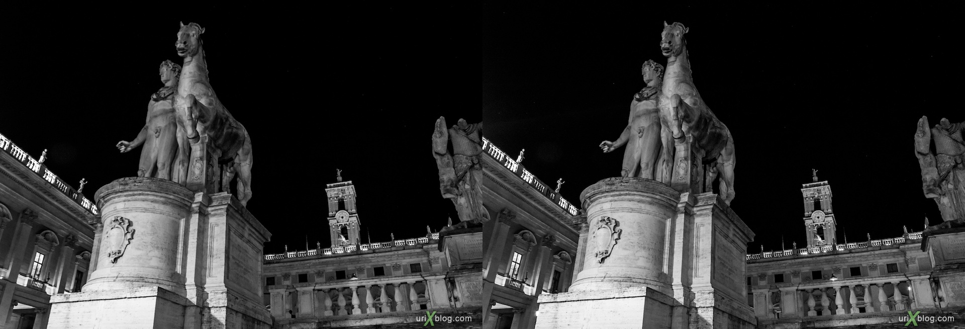 2012, statues of the Dioscuri, Castor and Pollux, night, Capitoline Square, B/W, Rome, Italy, Europe, 3D, stereo pair, cross-eyed, crossview, cross view stereo pair