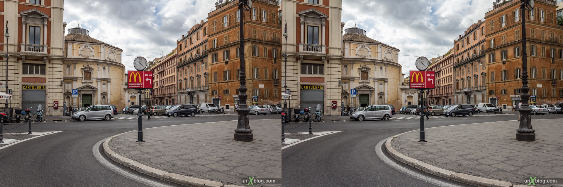 2012, Piazza San Bernardo square, McDonalds sign, San Bernardo alle Terme church, Rome, Italy, Europe, 3D, stereo pair, cross-eyed, crossview, cross view stereo pair