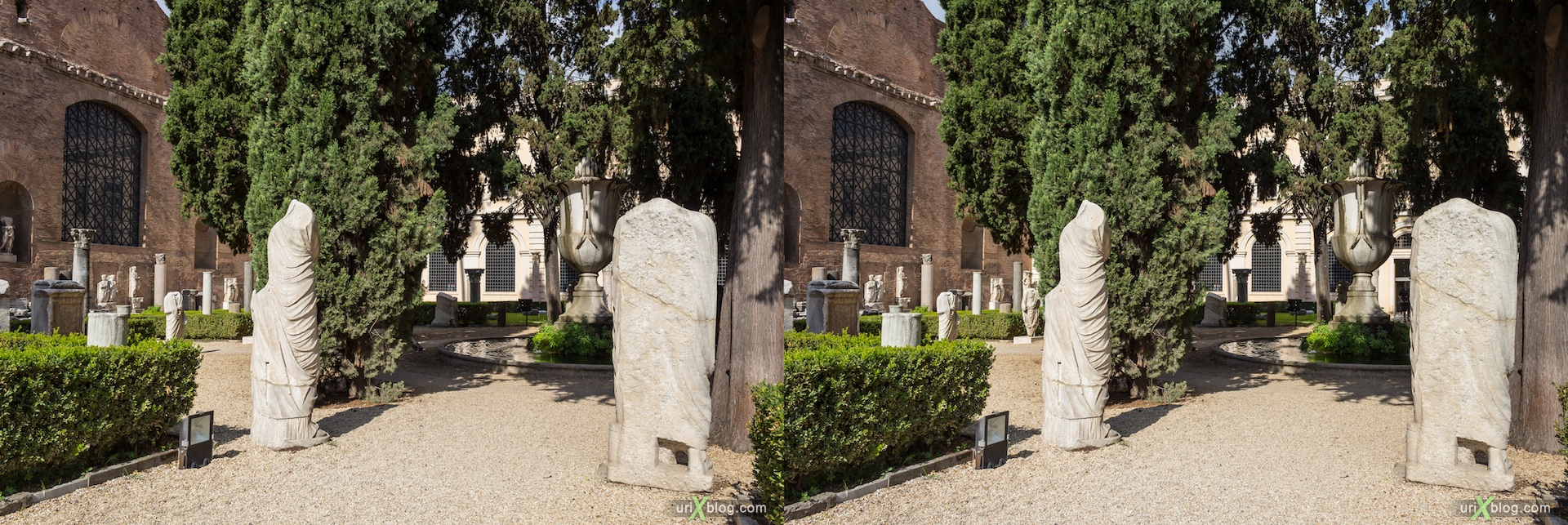 2012, National Museum of Rome, courtyard, fountain, Diocletian Baths, Rome, Italy, Europe, 3D, stereo pair, cross-eyed, crossview, cross view stereo pair