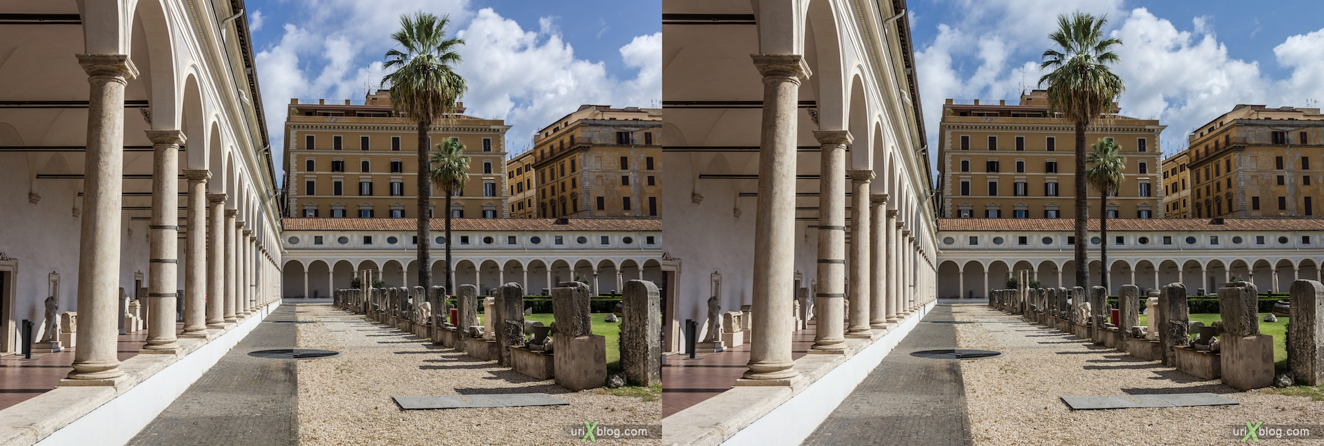 2012, courtyard, National Museum of Rome, Diocletian Baths, Rome, Italy, Europe, 3D, stereo pair, cross-eyed, crossview, cross view stereo pair