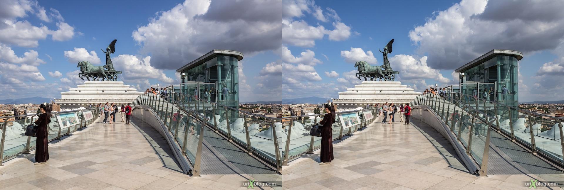 2012, Витториано, Монумент Виктора Эммануила II, крыша, колесница, смотровая площадка, Рим, Италия, осень, 3D, перекрёстные стереопары, стерео, стереопара, стереопары