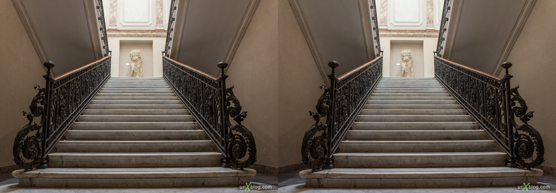 2012, steps, stairs, National Museum of Rome, Diocletian Baths, Rome, Italy, Europe, 3D, stereo pair, cross-eyed, crossview, cross view stereo pair