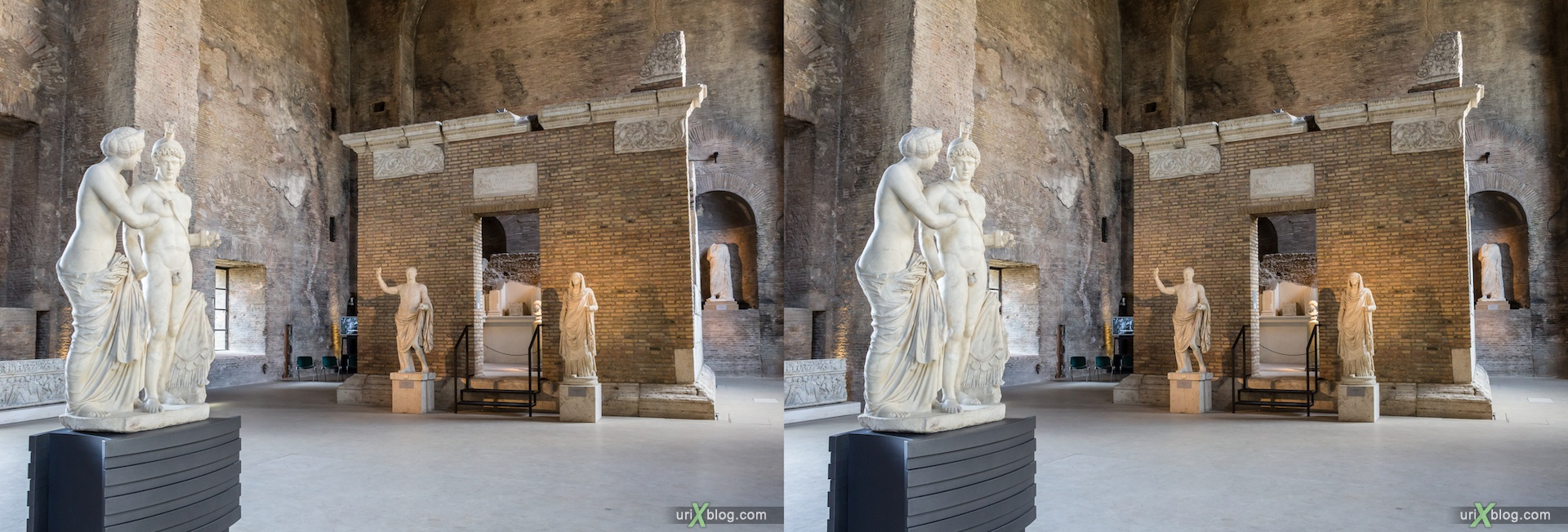 2012, National Museum of Rome, Diocletian Baths, Rome, Italy, Europe, 3D, stereo pair, cross-eyed, crossview, cross view stereo pair