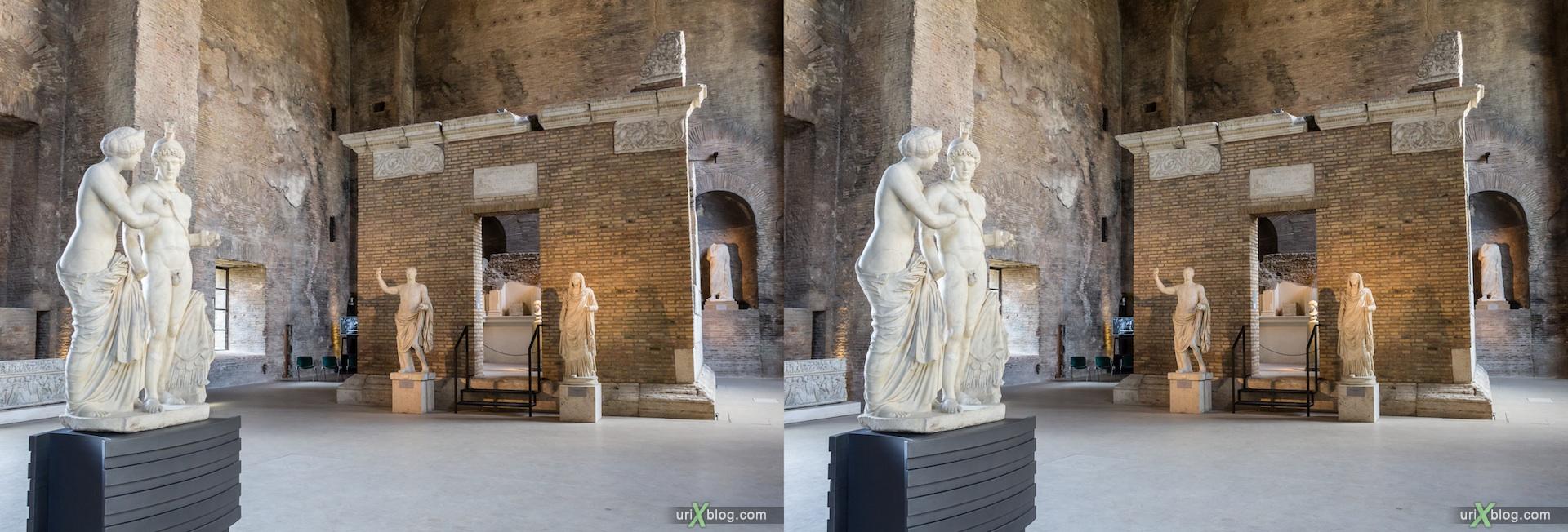 2012, Национальный римский музей, Conference Hall X, Термы Диоклетиана, Рим, Италия, осень, 3D, перекрёстные стереопары, стерео, стереопара, стереопары