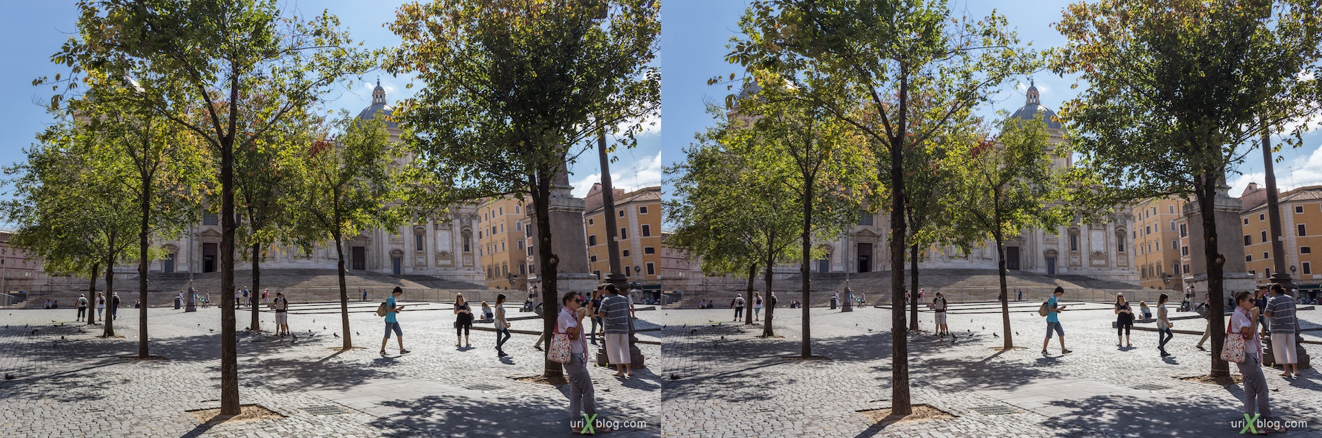 2012, Esquiline Square, trees, Basilica di Santa Maria Maggiore church, Rome, Italy, Europe, 3D, stereo pair, cross-eyed, crossview, cross view stereo pair