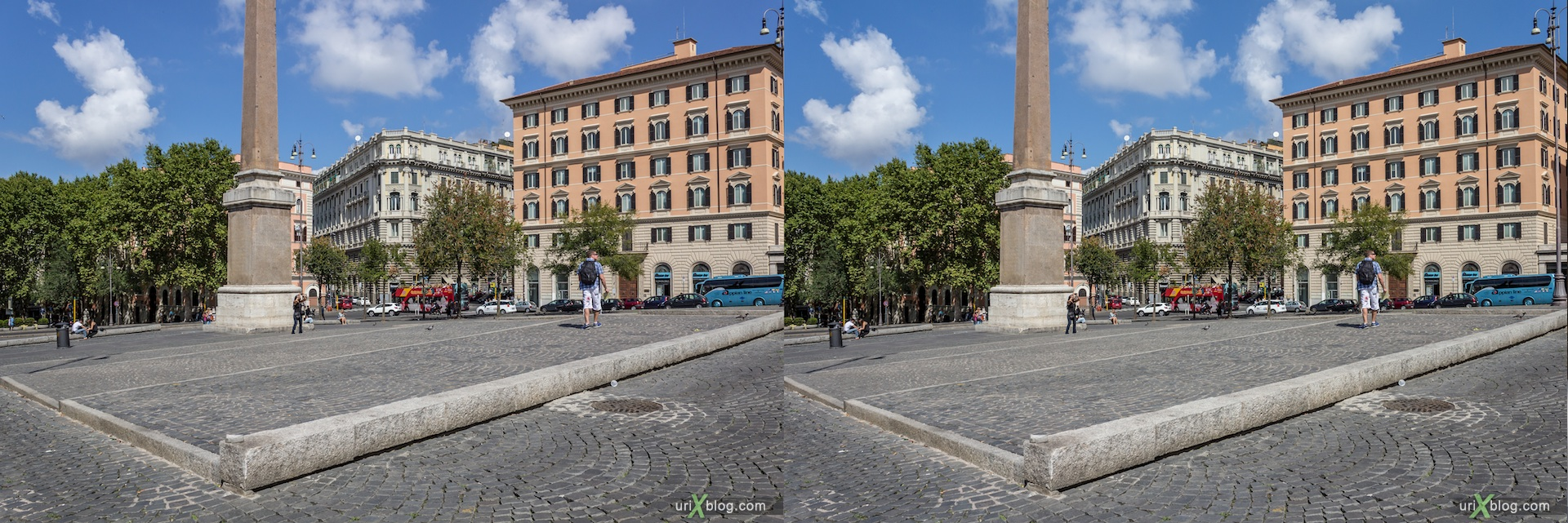 2012, Esquiline square, Esquiline Obelisk, Rome, Italy, Europe, 3D, stereo pair, cross-eyed, crossview, cross view stereo pair
