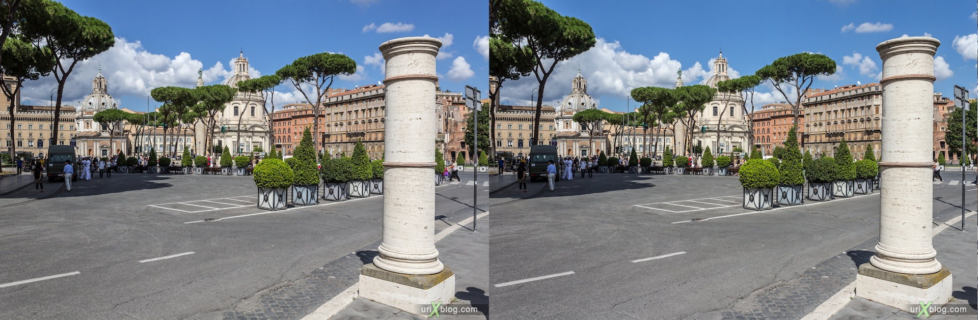 2012, Vittoriano, Roman forum, Via di San Pietro in Carcere street, Rome, Italy, Europe, 3D, stereo pair, cross-eyed, crossview, cross view stereo pair